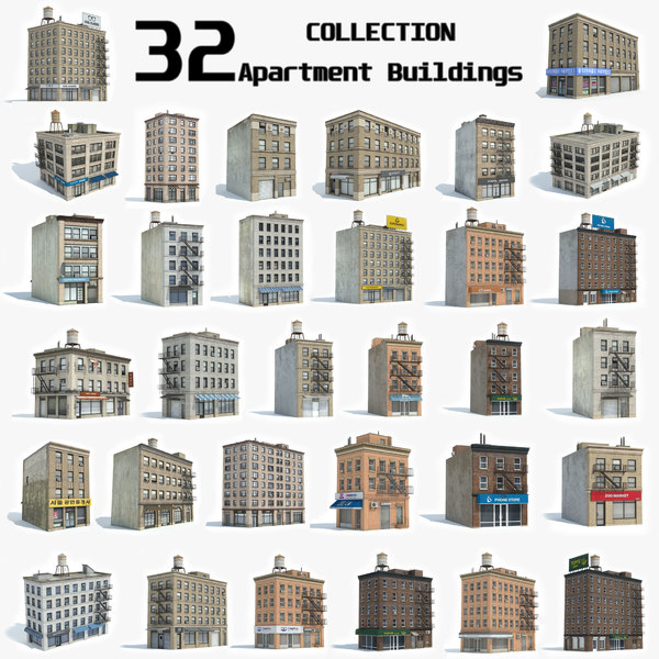 ready 32 apartment buildings 3D