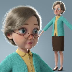 cartoon old woman character 3D model