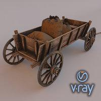 3D wooden cart modeled