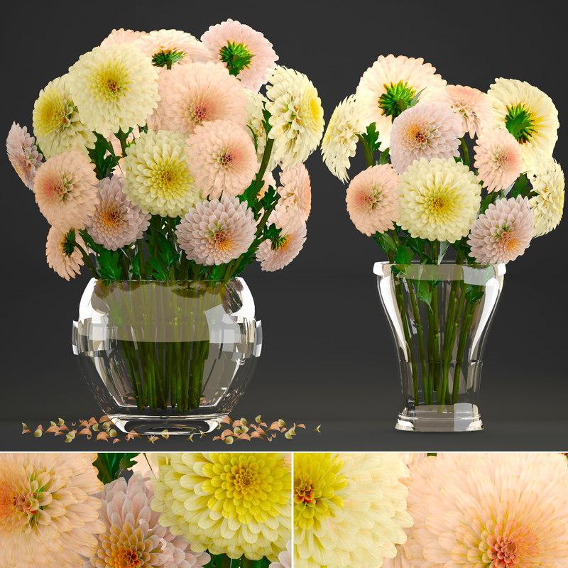 3D bouquet flowers dahlias model