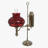 antique student oil lamp 3D model