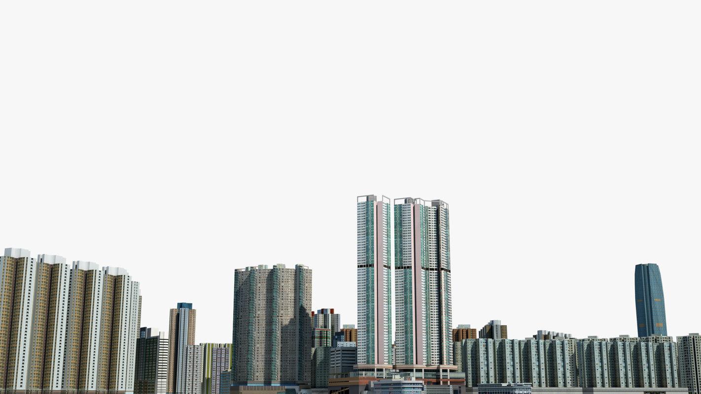 3D cityscape hong kong skyscrapers
