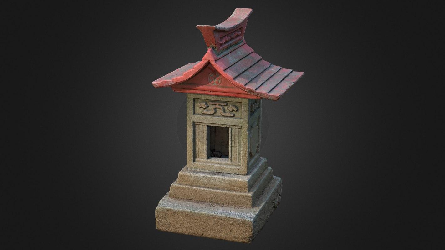 3D hokora miniature shinto shrine model