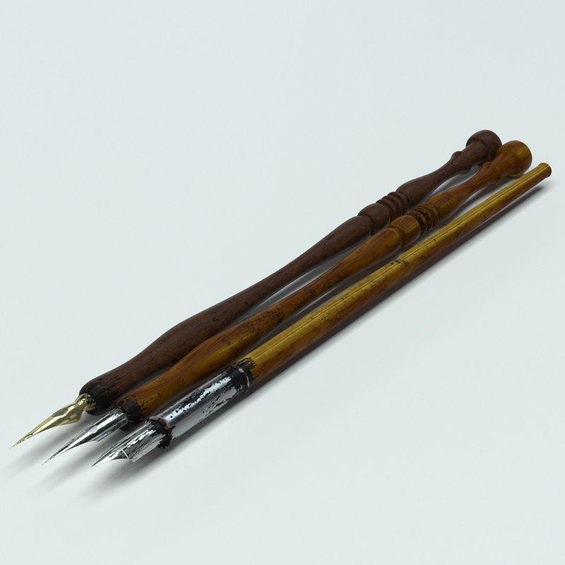 3D model dip pens