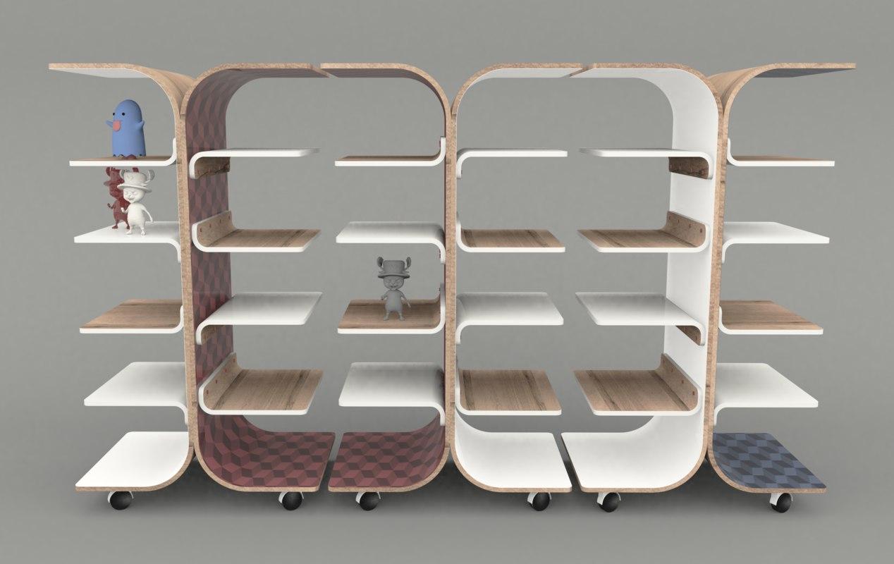 bookcase modern design 3D model