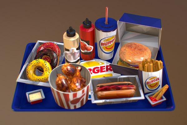 fast food burger 3D