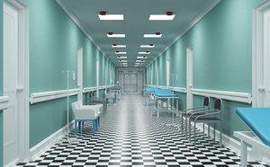 3D model hospital corridor interior