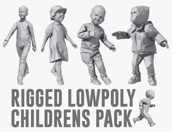 rigged childrens pack 3D model