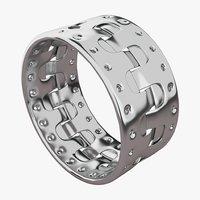3D silver bracelet