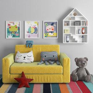 3D children s sofa model