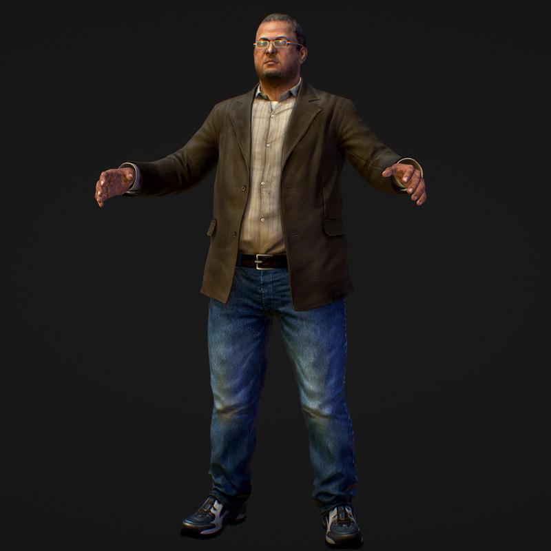 realistic man jeans shirt 3D model