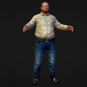 bill realistic man jeans 3D model