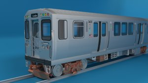3D chicago l subway train