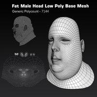 Human Head Fat Male Low Poly Base Mesh