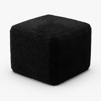 black curly sheepskin square 3D model