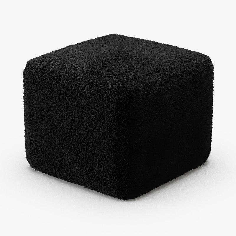 black curly sheepskin square 3D model