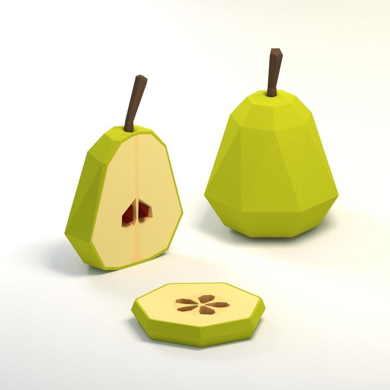 pear cartoon 3D model