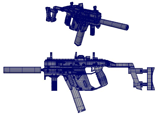 3D model submachine gun