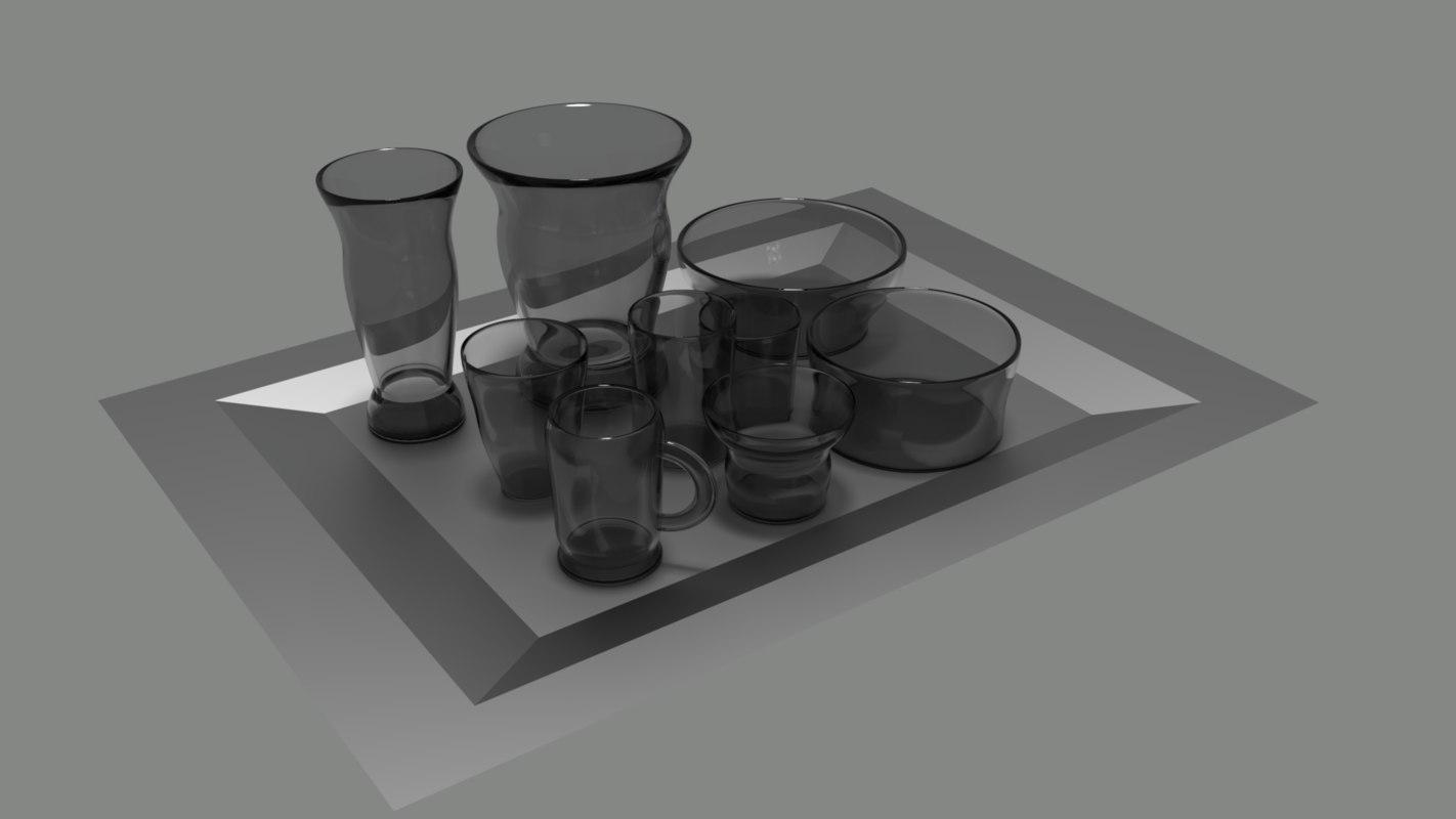 cups vases bowls 3D model