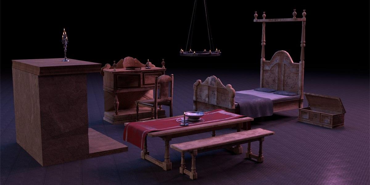 3D bedroom medieval