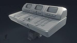 3D model small computer control panel