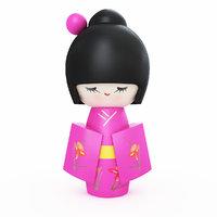 japanese wooden doll model