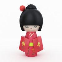 japanese wooden doll 3D model