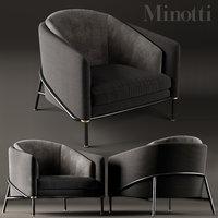 armchair minotti fil noir 3D