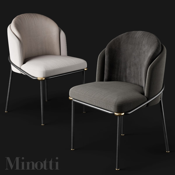 3D minotti fil noir chairs model