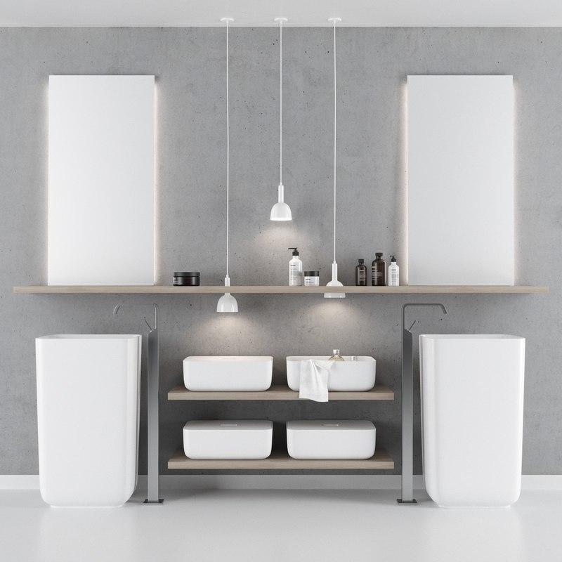 Qi Bathroom Furniture Set Model Turbosquid 1277208
