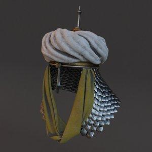 3D medieval helmet 5 modeled model