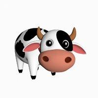 3D cartoon cow
