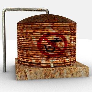 3D rusty old watertank