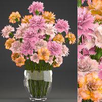 3D bouquet flowers dianthus carnations model