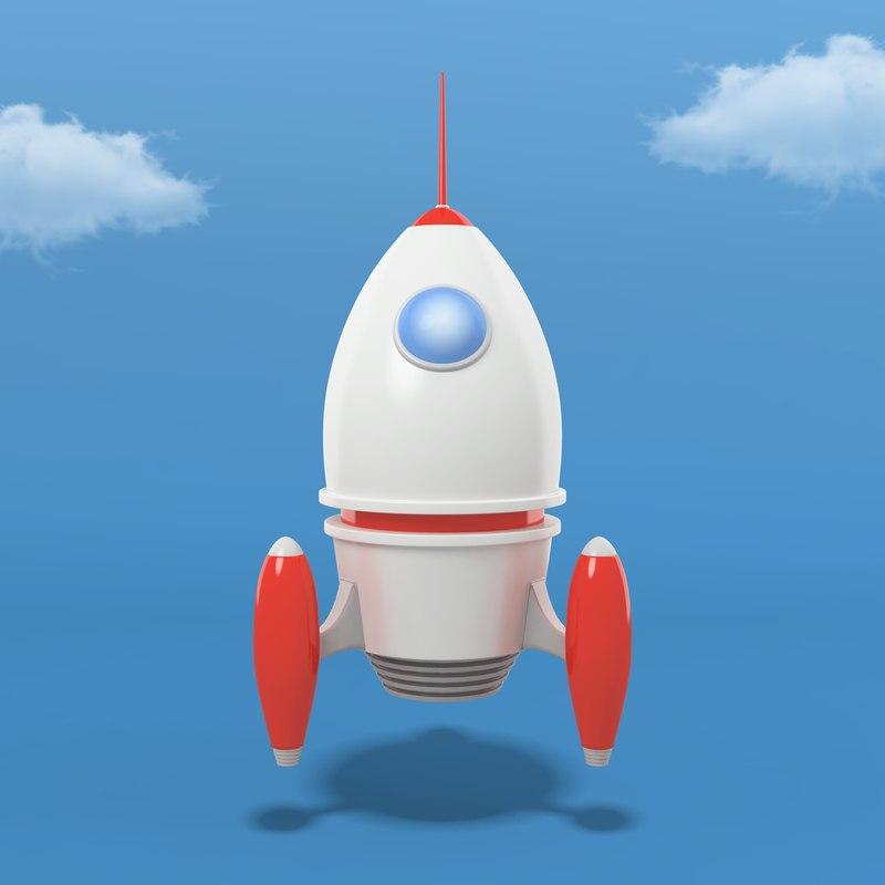 cartoon rocket model
