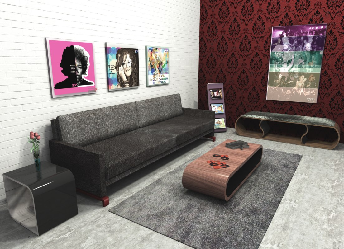 3D set modern design furniture sofa model