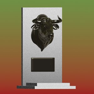 3D sculpture bullhead monument art