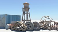3D model wheels barrels shipping container