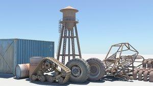 3D model wheels barrels shipping container