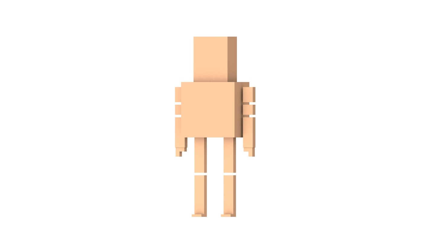 3D simple naked man
