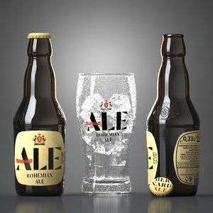 3D bernard bohemian ale beer glass