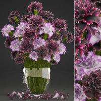 3D bouquet flowers dianthus