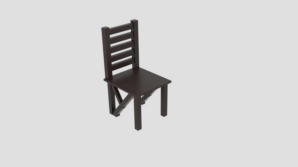 3D model chair x wood