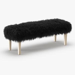 3D wool tibetan lamb bench