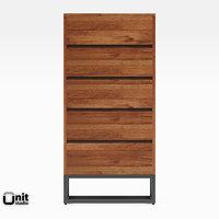 logan industrial 5-drawer dresser 3D