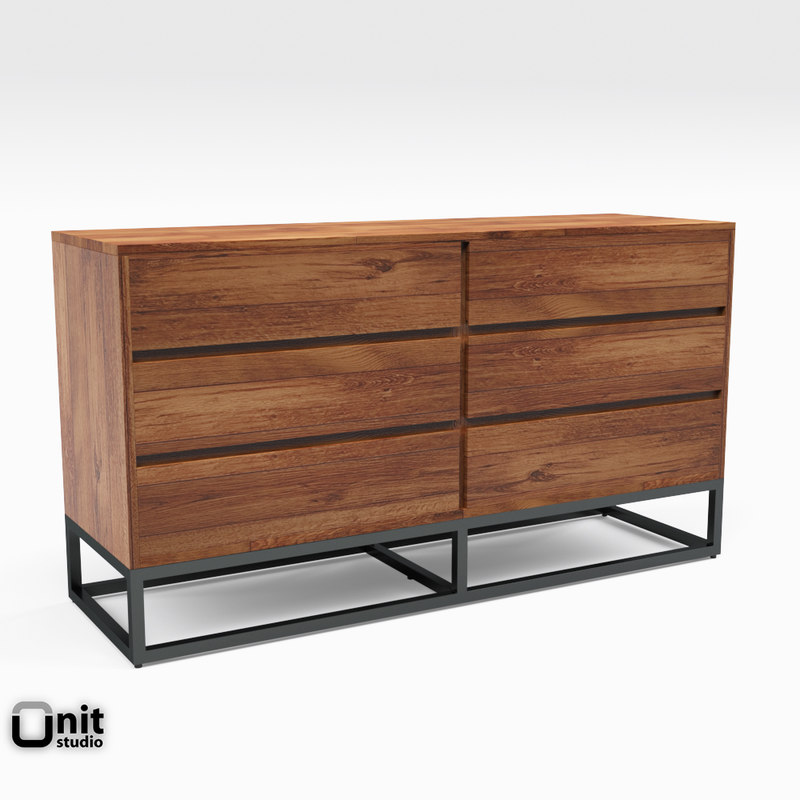 logan industrial 6-drawer dresser 3D model