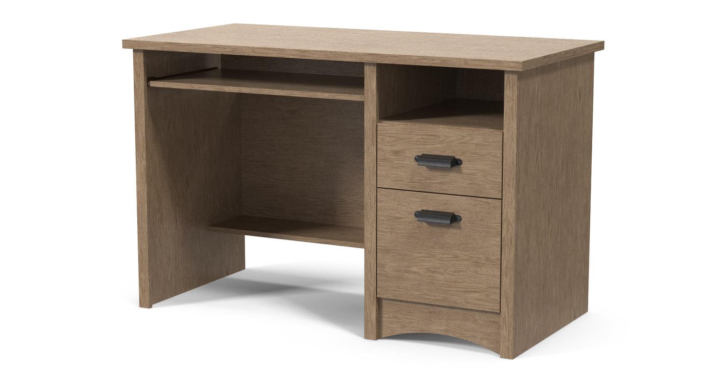 3D computer desk 3 rustic model