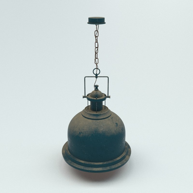 3D old industrial lamp