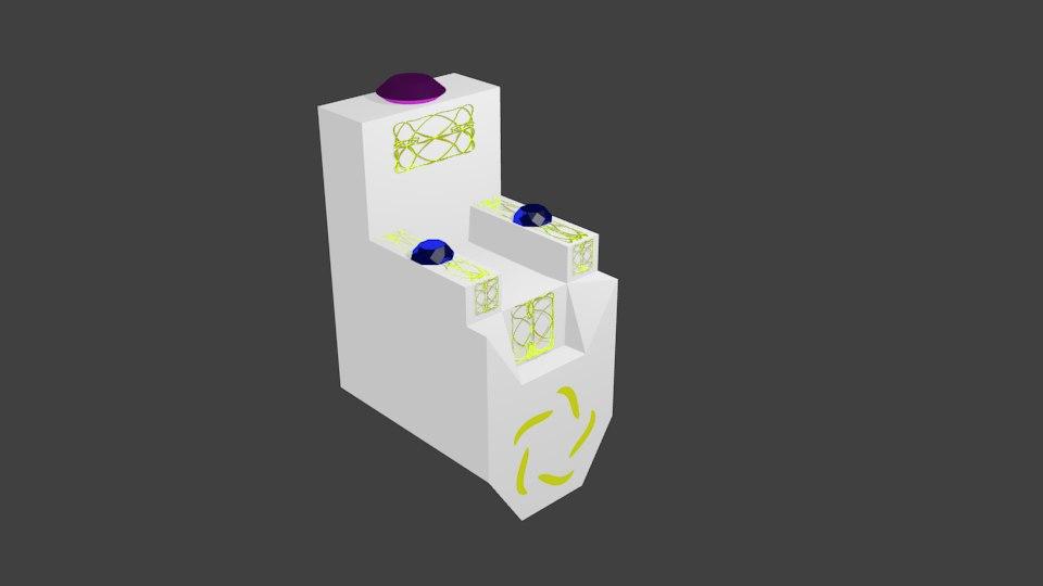3D thrown gold gems model