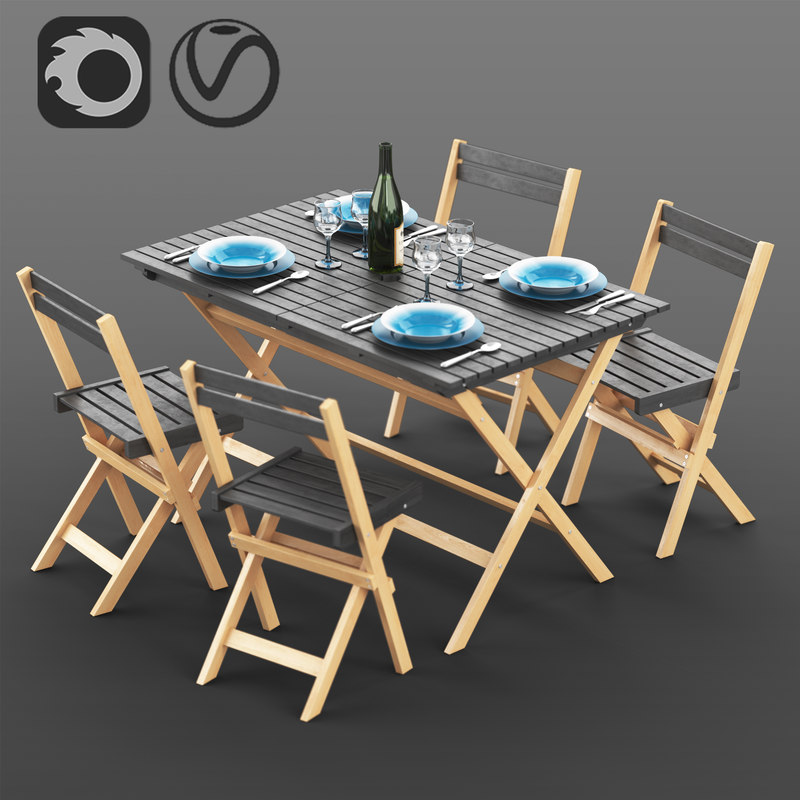 3D model set garden furniture la